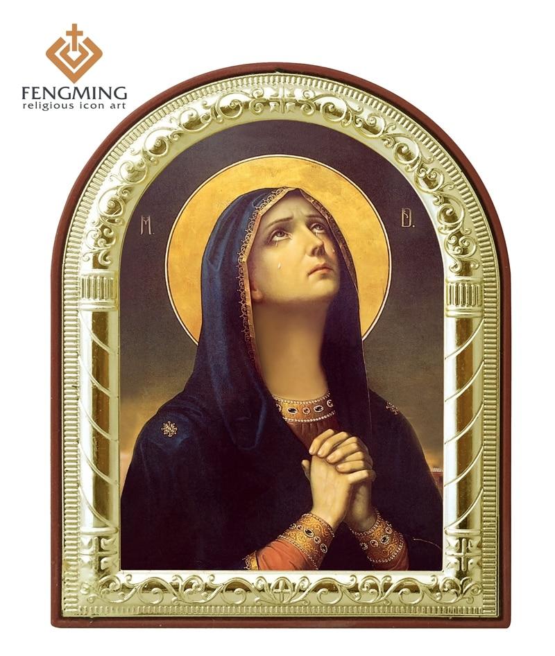 Vysoce kvalitní kovový stříbrný zlatý rám pravého náboženského katolického Panny Marie trhá křesťanské dárky umělecká díla velkoobchodní přívěsek