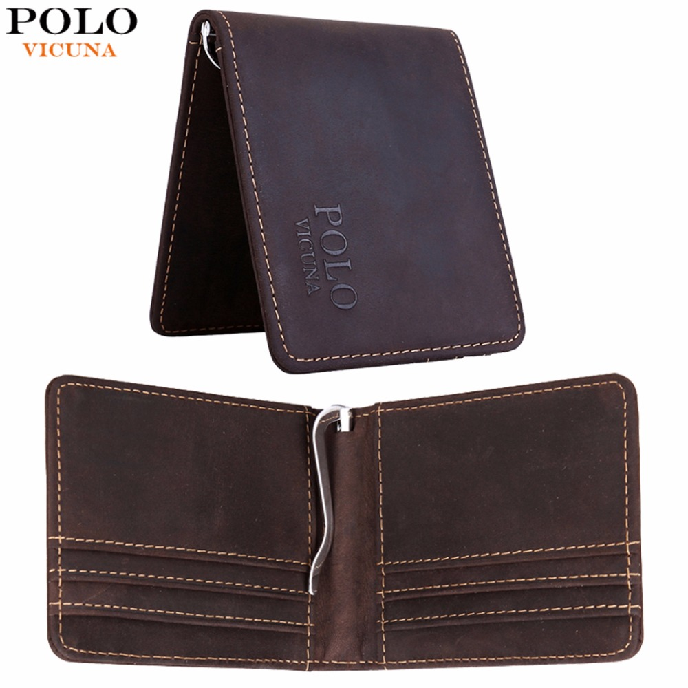 VICUNA POLO Simple Slim Genuine Leather Money Clip Wallet With Metal Spring Clip Retro Business Mens