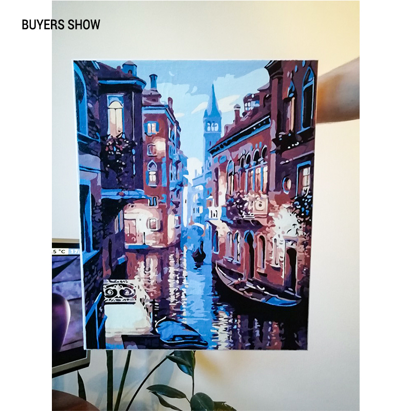 Frameless Venice Night Landscape DIY Digital Oil Painting By Numbers Europe Abstract Canvas Painting For Living Frameless Venice Night Landscape DIY Digital Oil Painting By Numbers Europe Abstract Canvas Painting For Living Room Wall Art
