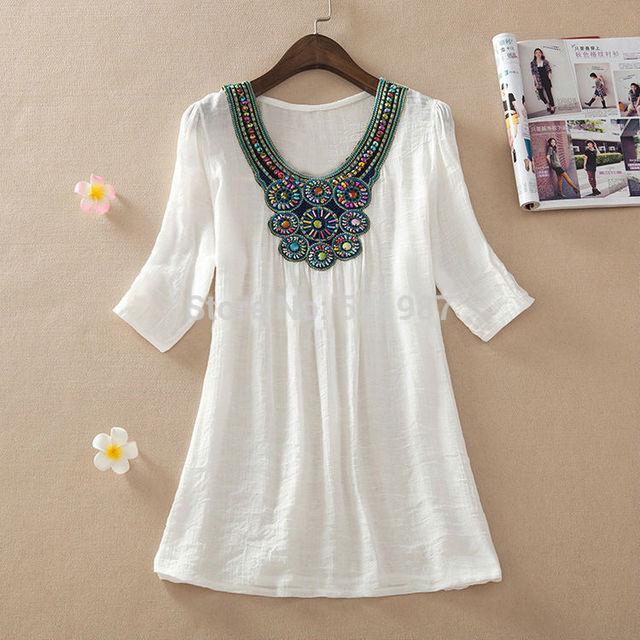 e79ae56d8f0b0b 2018 summer style Women short sleeve embroidered beading cotton plus size  mexican clothes peasant blouse blusas loose Top L -3XL
