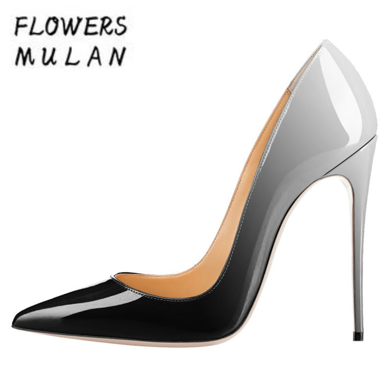 Women High Heels Ombre 12CM Blue Gray Black Pointed Toe Thin Heel Women Pumps Stilettos Mix Color Party Wedding Shoes Gladiators sequined high heel stilettos wedding bridal pumps shoes womens pointed toe 12cm high heel slip on sequins wedding shoes pumps