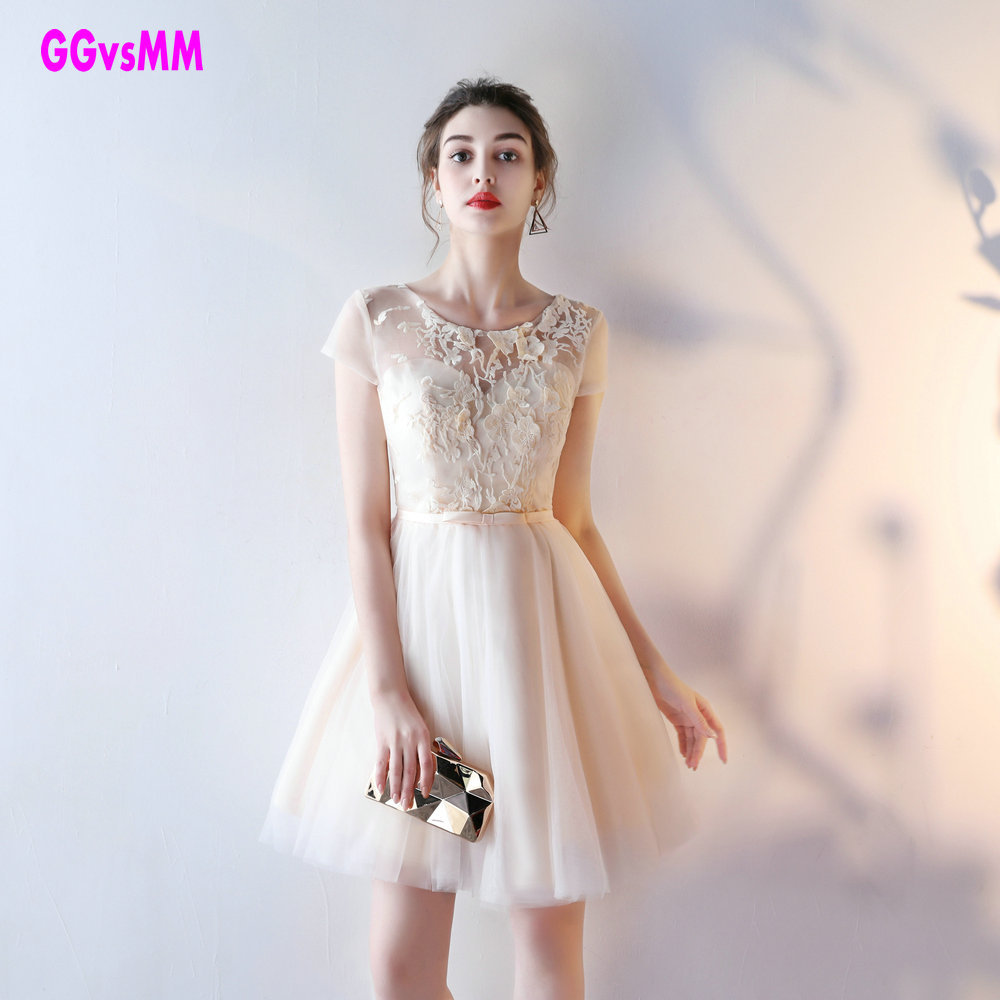 Real Photos Champagne Lace Plus Size Short Prom Dresses 2018 New Sexy Cute Prom Gowns O Neck Tulle Appliques Lace Up Prom Dress