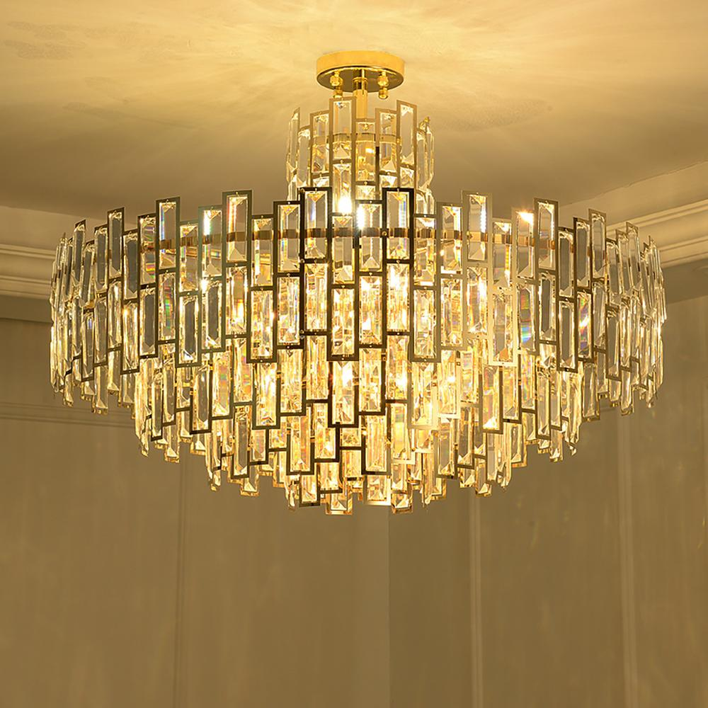 Modern gold postmodern large luxury stainless steel round crystal chandelier living room dining bedroom