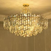 Modern gold postmodern large luxury stainless steel round crystal chandelier living room dining room bedroom chandelier post modern crystal chandelier designer stainless steel hotel sample room metal light luxury bedroom dining room lamps