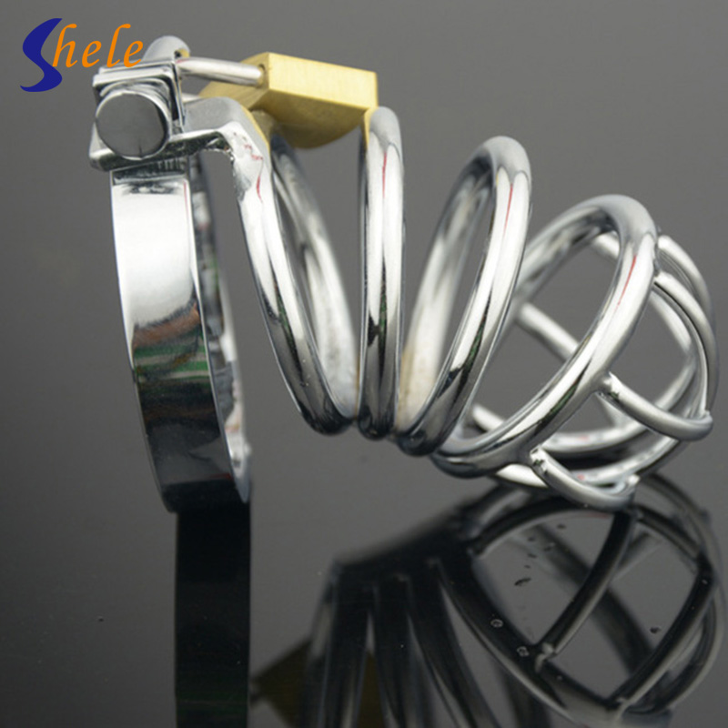 SHELE Stainless Steel Lockable Penis Cage Penis Cock Ring Sleeve Male Chastity Device Cage Belt Cockring Sex Toys For Men Dick stainless steel arc cockring male chastity device penis cage cock ring cages bdsm men sex toys products for man cb6000s