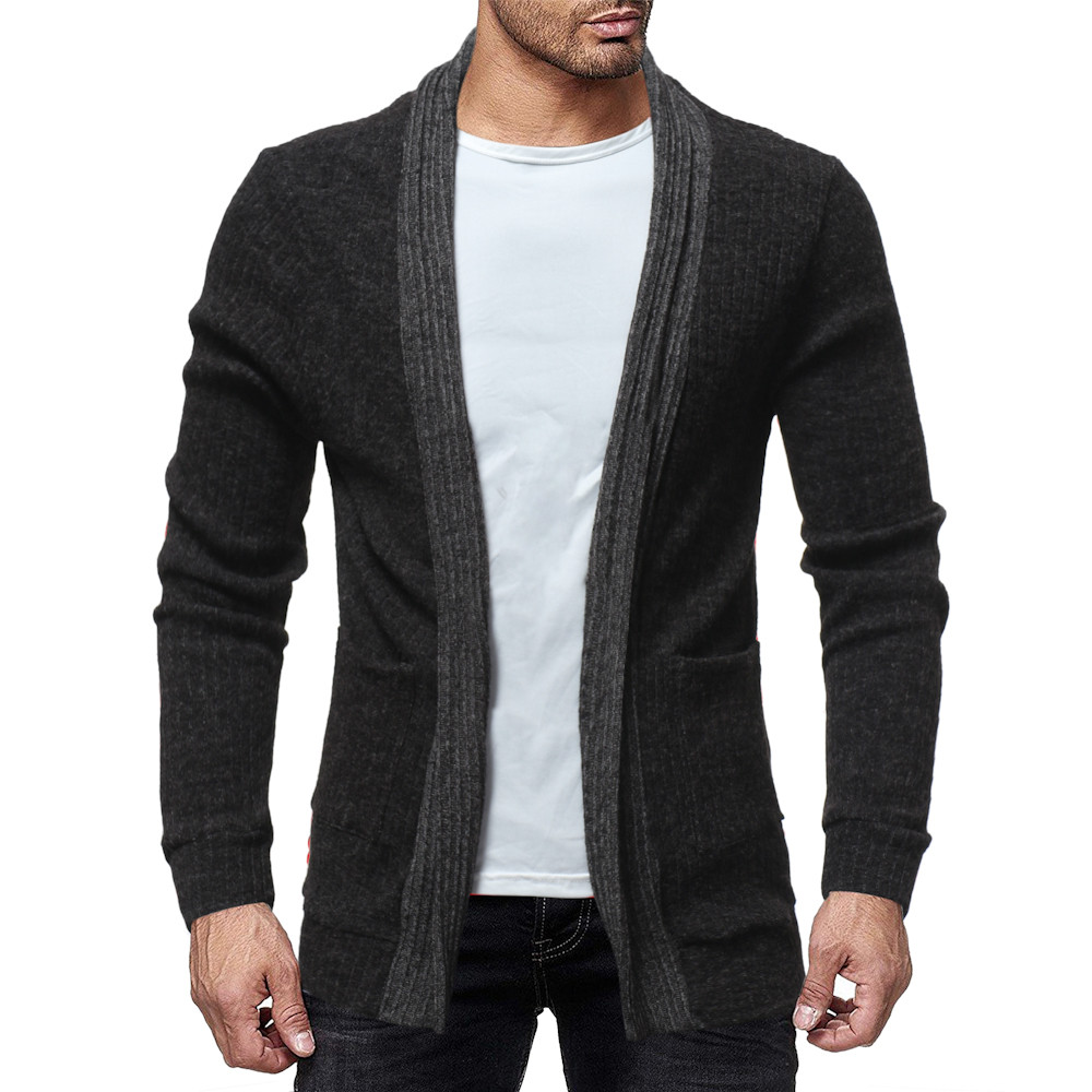 Feitong Men's Fashion Solid Cardigan  Sweatshirts Casual Slim Fit  Jacket Coat