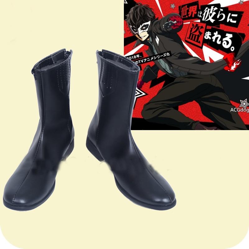 Persona 5 Joker Protagonist Akira Kurusu Ren Amamiya Black Cosplay Shoes Boots Halloween Carnival Costume Accessories