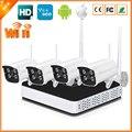 Kit Sistema de Câmera IP sem fio 4CH 720 P/960 P P2P Wi-fi Câmera IP Sistema de CCTV Com Wi-fi NVR + 4 PCS Sem Fio Da Câmera IP IP67 de Metal