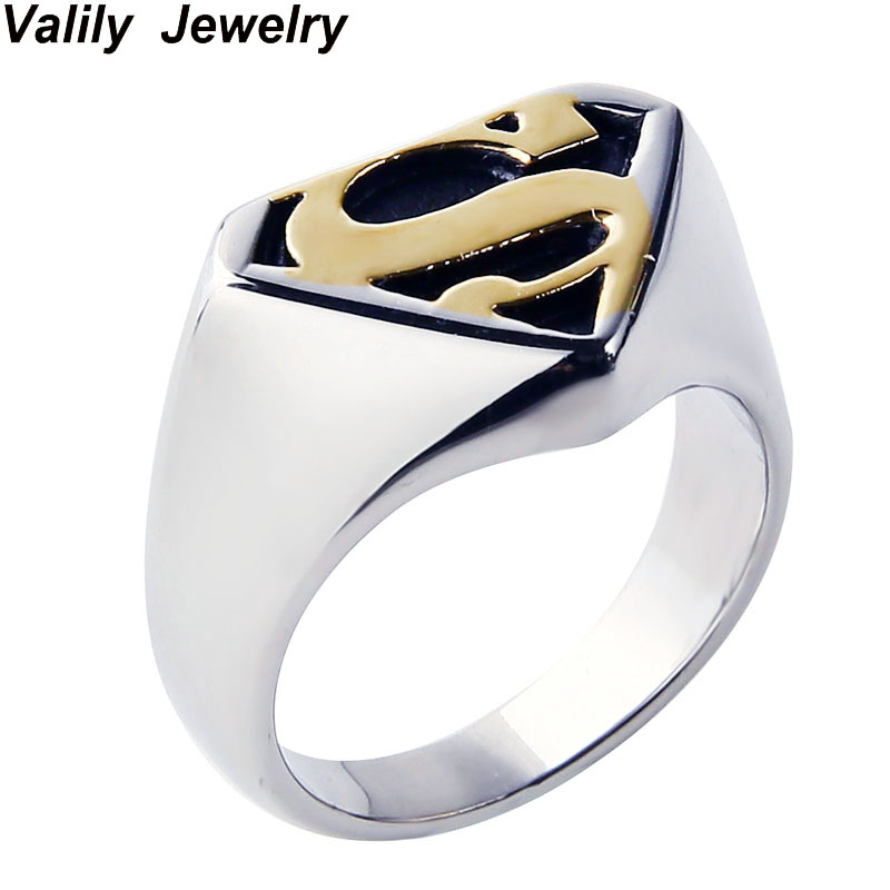Valily Jewelry Man's Batman Ring Silver Motor Biker Superman Rings - Mode-sieraden