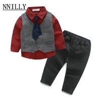 Nnilly patroon boy kleding mode winter peuter baby outfit 2017 Nieuwe pak Zuigeling Formele Gentleman Stropdas Pak streep kids