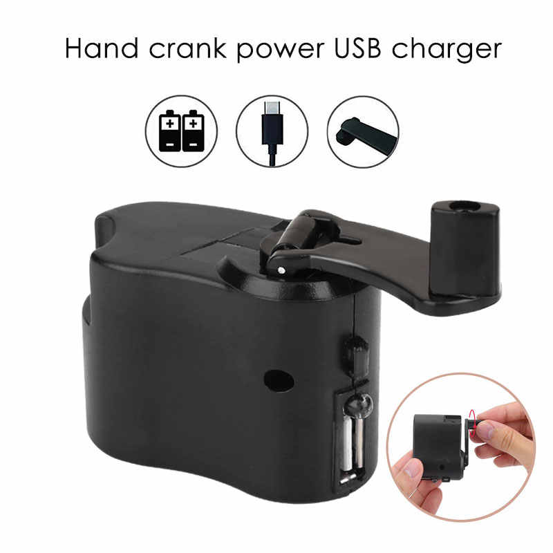 Hand Power Dynamo Portable Durable Outdoor Emergency ABS Travel USB Survival Gear