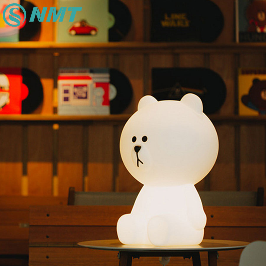 30cm Bear Children Night Light Rechargeable Cartoon Bedside Night Lamp for Children Baby Kids Bedroom Birthday Christmas Gift decorative cartoon bear led night light silicone white bedside night lamp for children baby christmas birthday gift
