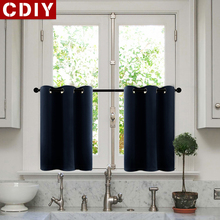 CDIY Solid Short Curtains For Living Room Bedroom Modern Window Kitchen Blackout Drapes Door finished