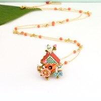 France Les Nereides Blue Tit Bird House Necklace For Women Enamel Glaze Good Quality Sweater Necklaces