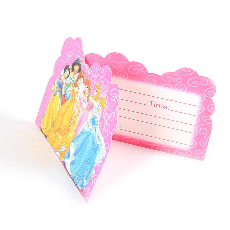 Disney Princess Theme Invitation Card 10pcs Pack Cartoon Design Supplies For Kids Festival Children Birthday