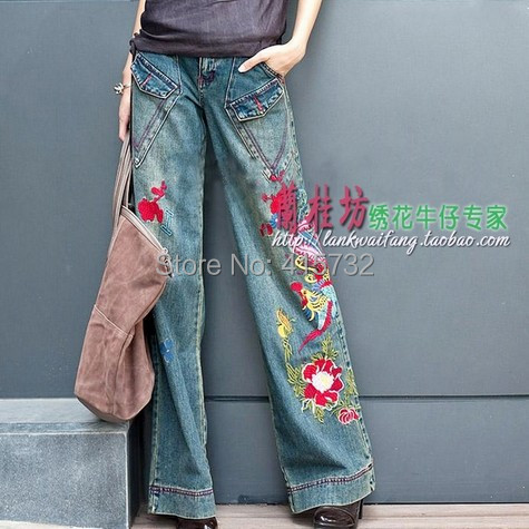 Free Shipping 2017 New Fashion Long Pants For Women Embroidery Flower Trousers Plus Size Denim Wide Leg Jeans Female Pockets