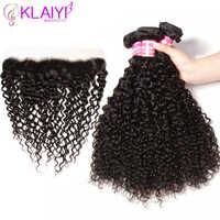 Klaiyi cheveux 3 paquets de cheveux bouclés malaisiens avec fermeture frontale de dentelle de cheveux humains frontale avec des paquets Remy cheveux couleur naturelle