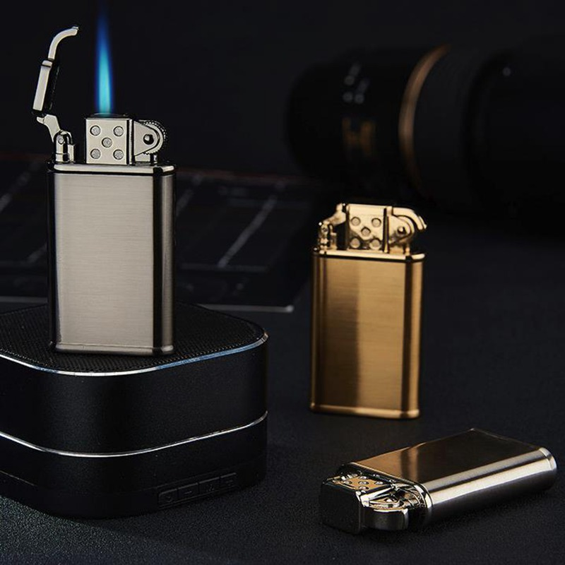 Personality Retro Creative Men 39 s Metal Windproof Gas Lighter Blue Flame Spray Gun Butane Torch Lighter Cigarette Lighter in Matches from Home amp Garden