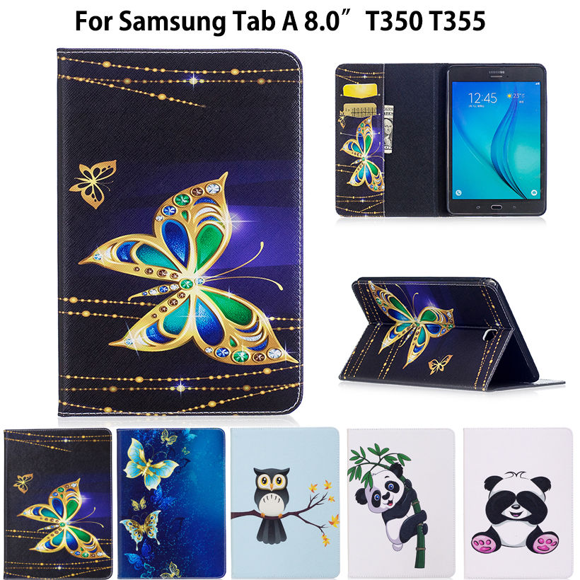 SM-T350 Fashion Panda Pattern Case For Samsung Galaxy Tab A T350 T351 T355 P350 8.0 Cover Smart Case Funda Tablet PU Stand Case for samsung galaxy tab a 8 0 sm t350 t351 t355 luxury stand folio flip pu leather skin magnetic smart sleep cover case film