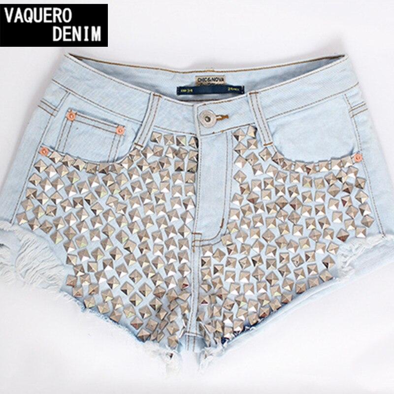 5a2ea86be Shorts jeans Para Women2015 Cintura Alta Buraco Rebite Denim Mini ...