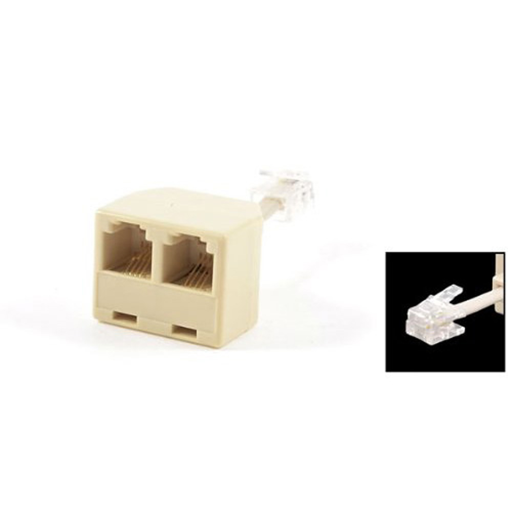 DSHA New Hot Telephone RJ11 Male Line to Double RJ11 Female Jack Filter Splitter Adapter