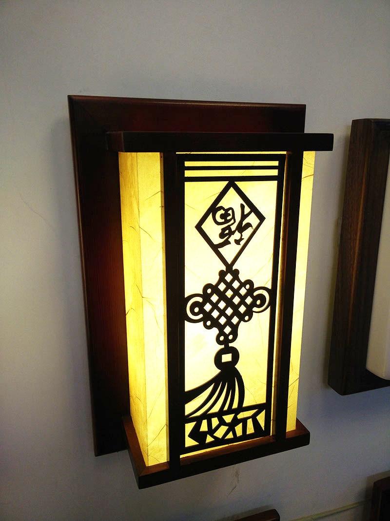 Chinesischen Stil Klassischen Holz Wandleuchte Faux Bett Lampen Wohnzimmer Antiken Schaffell Geschnitzt Flurbeleuchtung