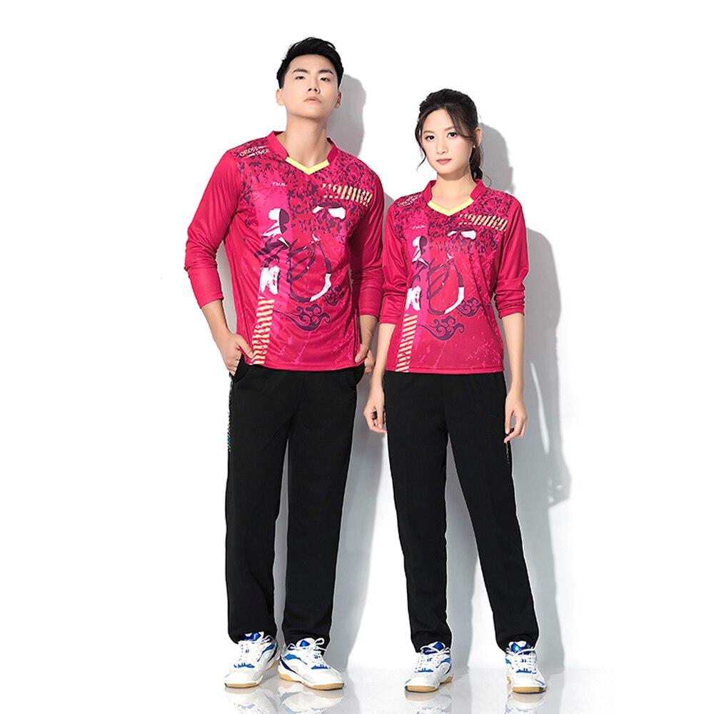 Adsmoney ensemble de tennis homme et femme à manches longues col en v, personnalisé imprimé badminton porter t-shirt à manches longues + pantalon