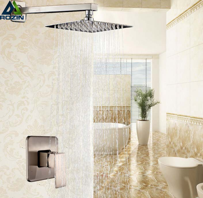 Wall Mount 10 Rainfall Shower Faucet Set Brushed Nickel Single Handle Shower Mixer Water Taps Brushed Nickel china sanitary ware chrome wall mount thermostatic water tap water saver thermostatic shower faucet