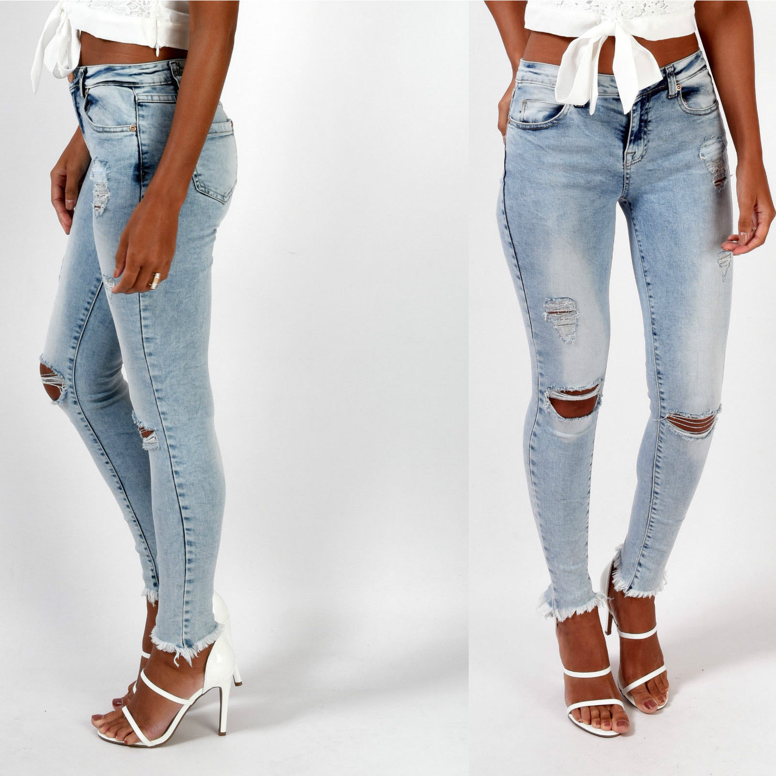 2018 Spring Vintage Jeans Women Hole Hollow Out Bleached Cotton Blue Denim Pants Mujer Elasticity Skinny Push Up Pencil Pants