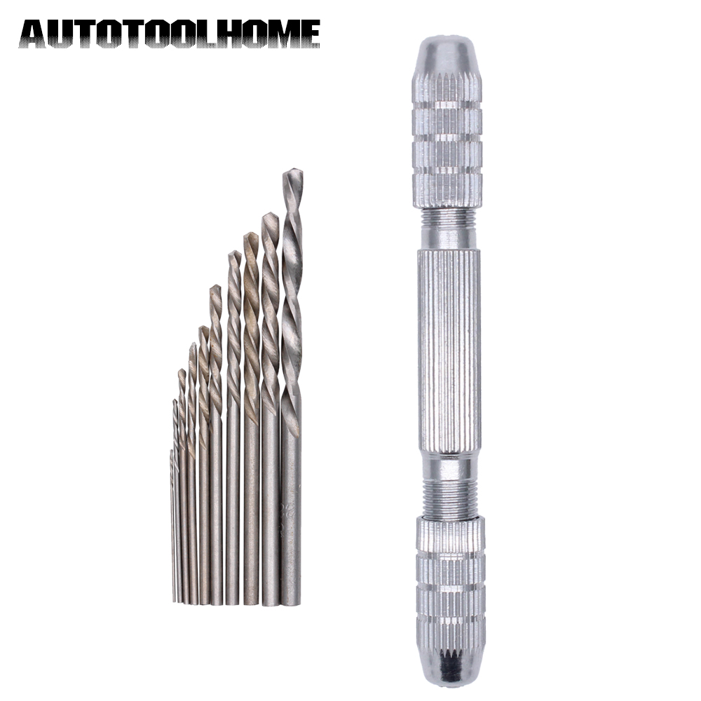 New Double Mouth Pin Vice Hand Drill Chuck Walnut Perforated Paper Model Hobby Tool With 10pcs 0.8-2.5mm Micro Drill Bits the walnut trees of altenburg paper only