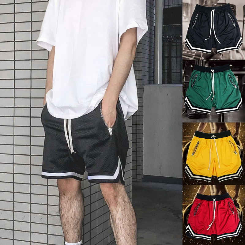 Summer Shorts Sweatpants Pockets Zipper Male Striped Fashion Casual Drawstring Patchwork