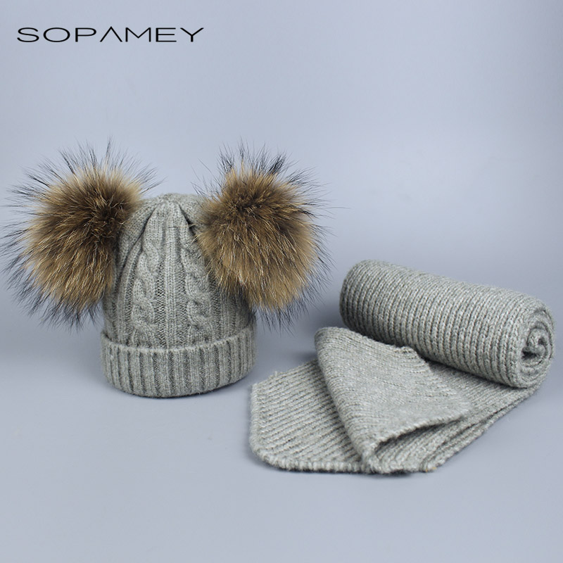 Child Knitted Scarf and Hat Set Skullies Winter Warm Crochet Hats and scarves with Real fur pom Beanie Hat for boys and girls winter women beanie skullies hiphop hats warm knitted hat baggy crochet cap femme crumpled elastic scarf hat dual purpose