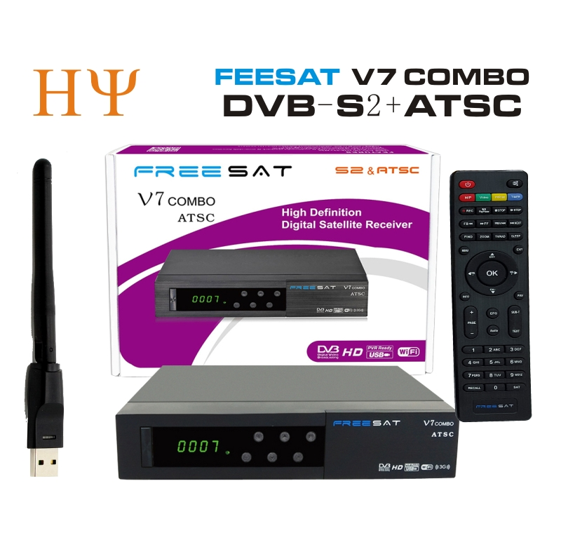 [Genuine] Freesat V7 Combo ATSC+1PC WiFi satellite receiver DVB S2 ATSC Support Biss Key PowerVu Biss Key Cccam Newcam Youtube