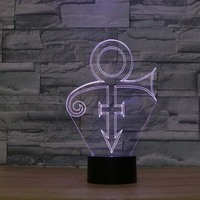 Prince Shape Night Light Amazing 3D LED Illusion Night Lights LED Decorations Lamp Colorful Chaning Lights For Room Decoration