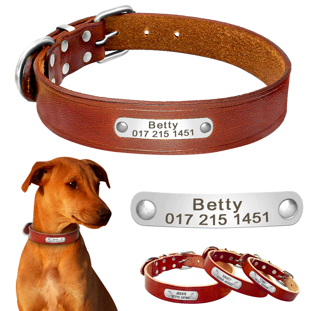Echt leer Gepersonaliseerde halsband Aangepaste gegraveerde Honden Halsbanden Naam Telefoon Nr. ID-tag Halsriem voor grote honden