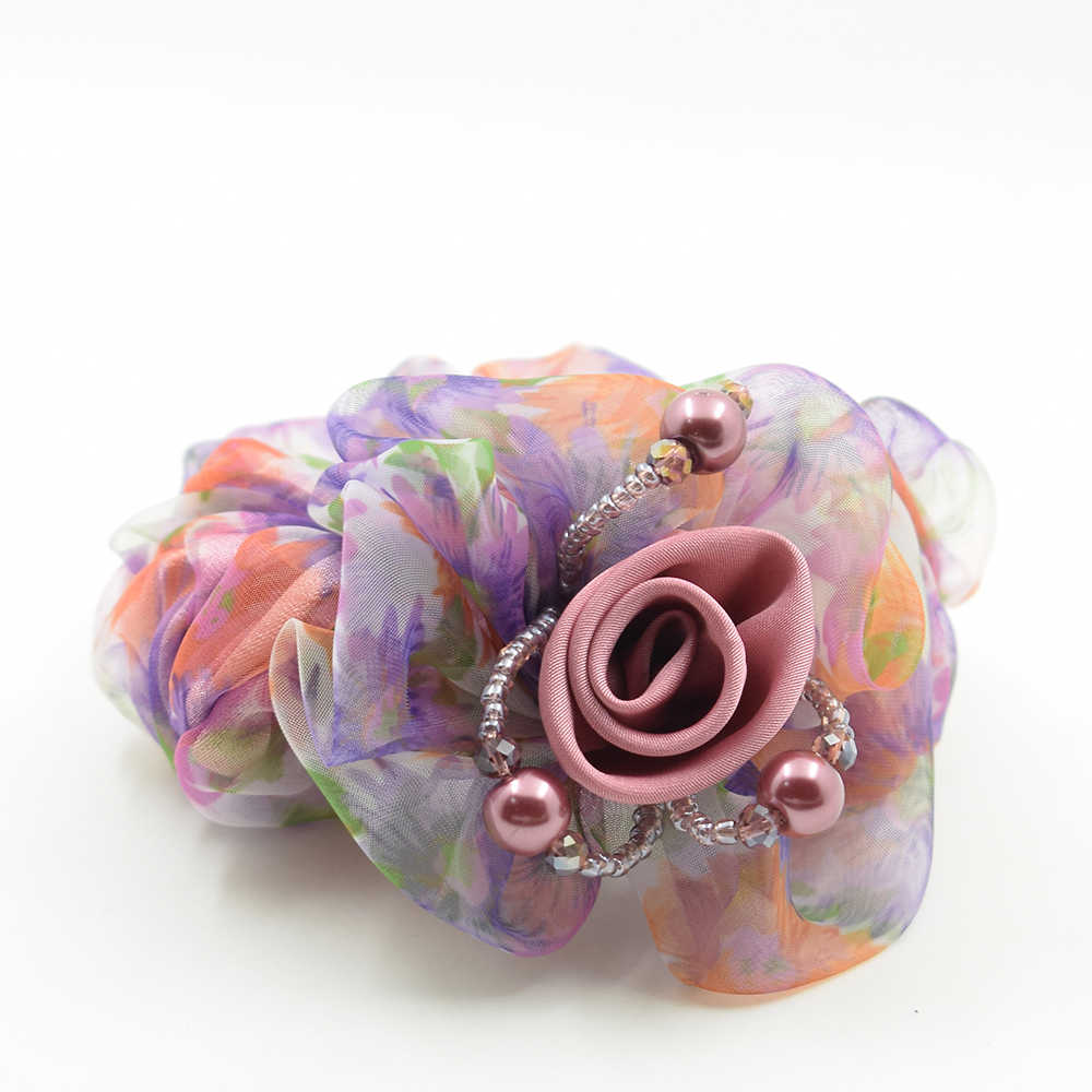 มาใหม่ดอกไม้ริบบิ้นคริสตัลยางยืดหยุ่นเส้นด้ายจำลองมุกวงผมหางม้าอุปกรณ์ผมH Older