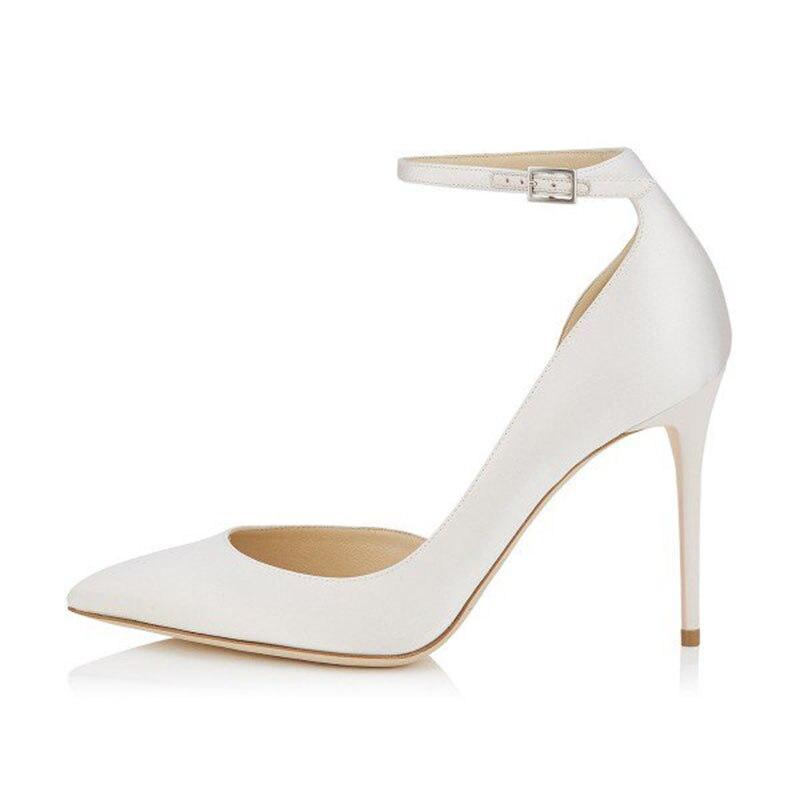 Mujeres Bombas Blanco Otoño Talón 42 Tamaño 2018 Primavera Tobillo Del Shoes41 Correa Stiletto Fsj01 Más 43 Zapatos Dorsay Señoras RESYEr