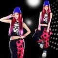 Frete grátis moda de nova marca Jazz harém mulheres calças hip hop hip hop top dança verão patchwork solto moletom