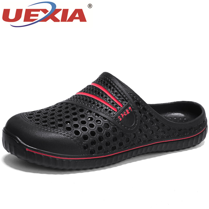 UEXIA 2018 Summer Slippers Men Hollow Out Breathable Beach Flip Flops Unisex Casual Slip-on Flats Men Shoes zapatos Sandalias цена