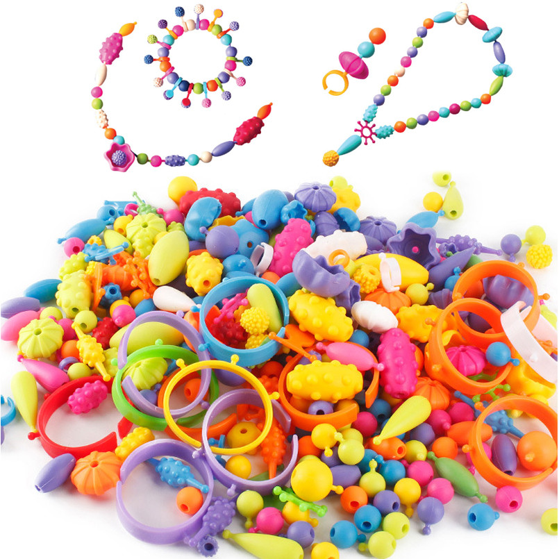 370Pcs Pop Beads Toys DIY Arts Crafts Bracelet Necklace Ring Jewelry Kit Creative  Educational Toy For Children Girl Bead Gifts