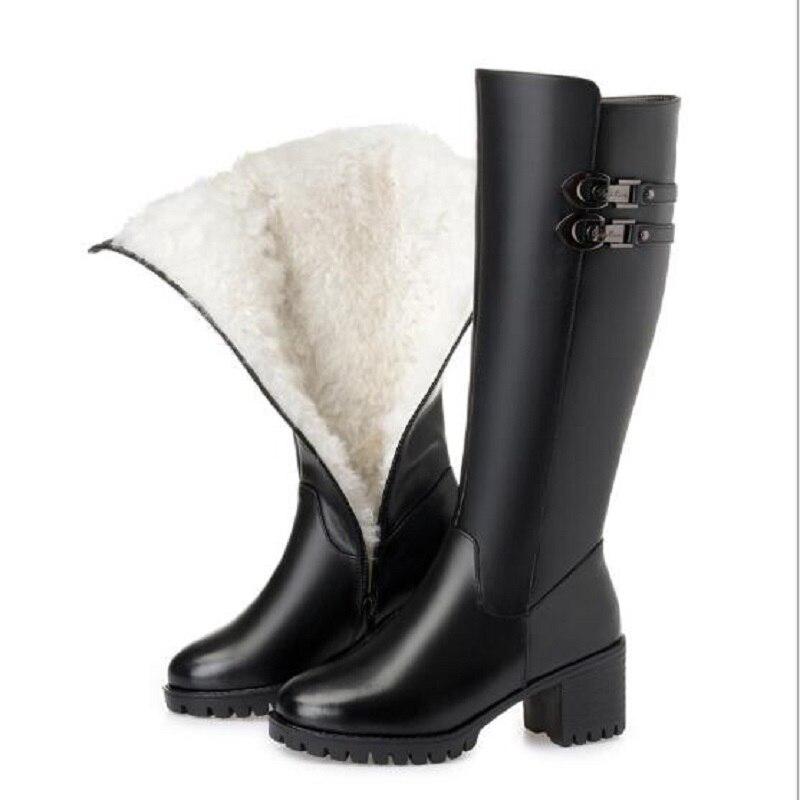 Invierno Tamaño 35 Dentro Alto Botas Mujer Hebilla Black Zapatos Lana 43 Wool Nuevo Cuero Decoración Tacón plush Grueso La 2018 Cremallera Black Rodilla Genuino De HqU5x4