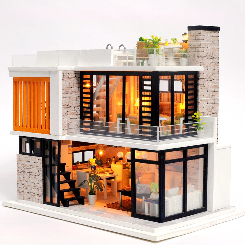 Wooden Diy Doll House Furniture Miniature Dollhouse Puzzle Assemble 3d Miniaturas Doll House Model Kits Toys For Children Gifts Doll Houses Dolls & Stuffed Toys