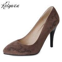 Kriywen 2018 Spring Women Shoes Office Career Flock Thin High Heels Pumps Brown Green Black Shoes