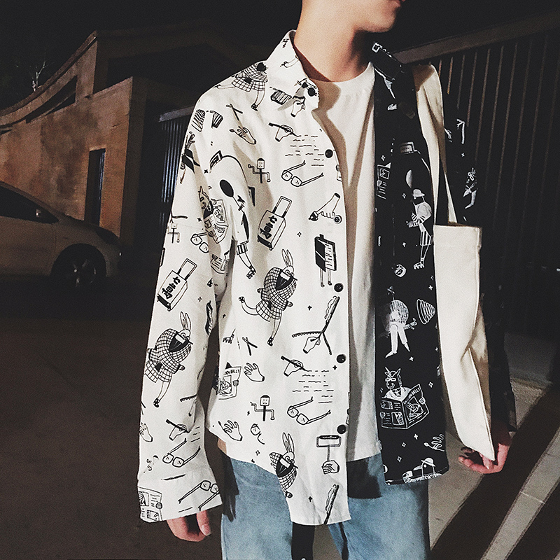 2017 Autumn super personality original casual Printed long sleeve shirt Men s thin coat fashionable cotton