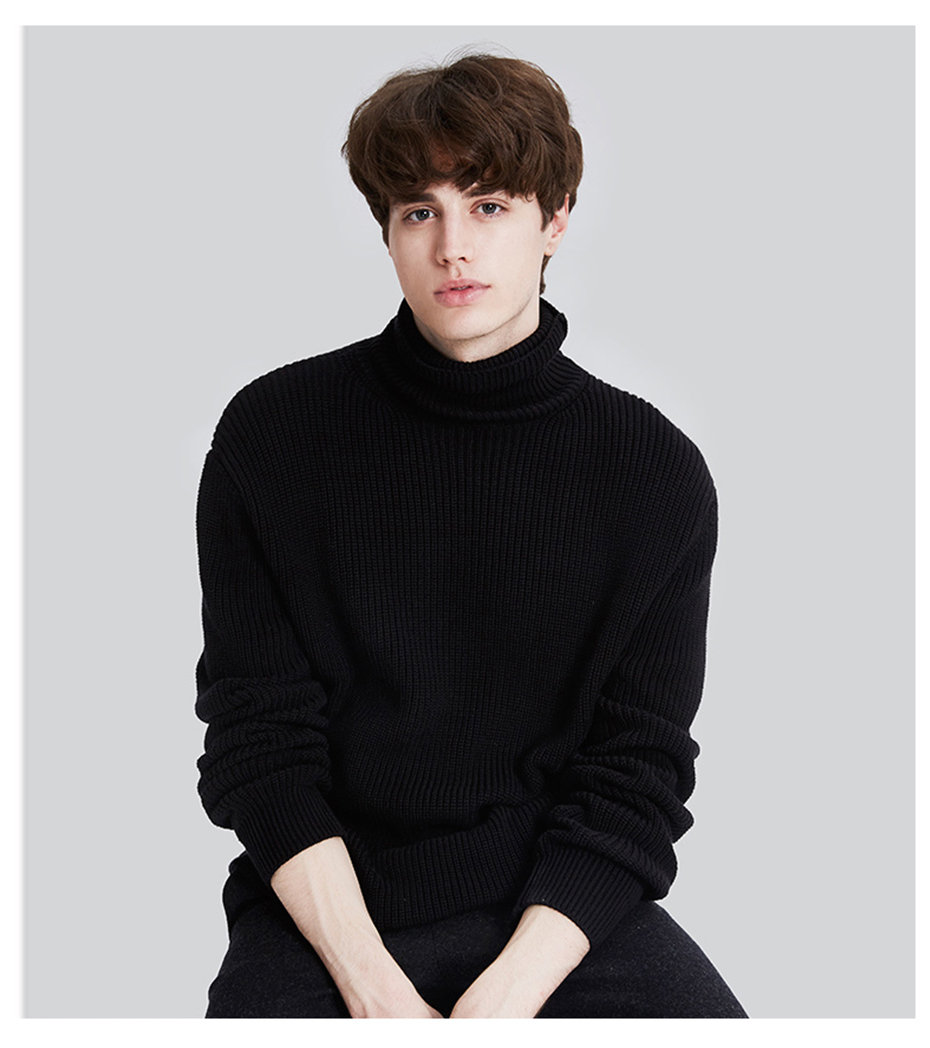 US $28.52 48% OFF|Markless Winter Warm Turtleneck Sweaters Men sueter hombre Black Fashion Casual Outwear Knitted Sweaters Pullovers