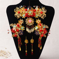 Chinese Style Handmade Red Crystal Bridal Jewelry Sets Headdress Hair Accessories Imitation Pearl Gold Plated Wedding