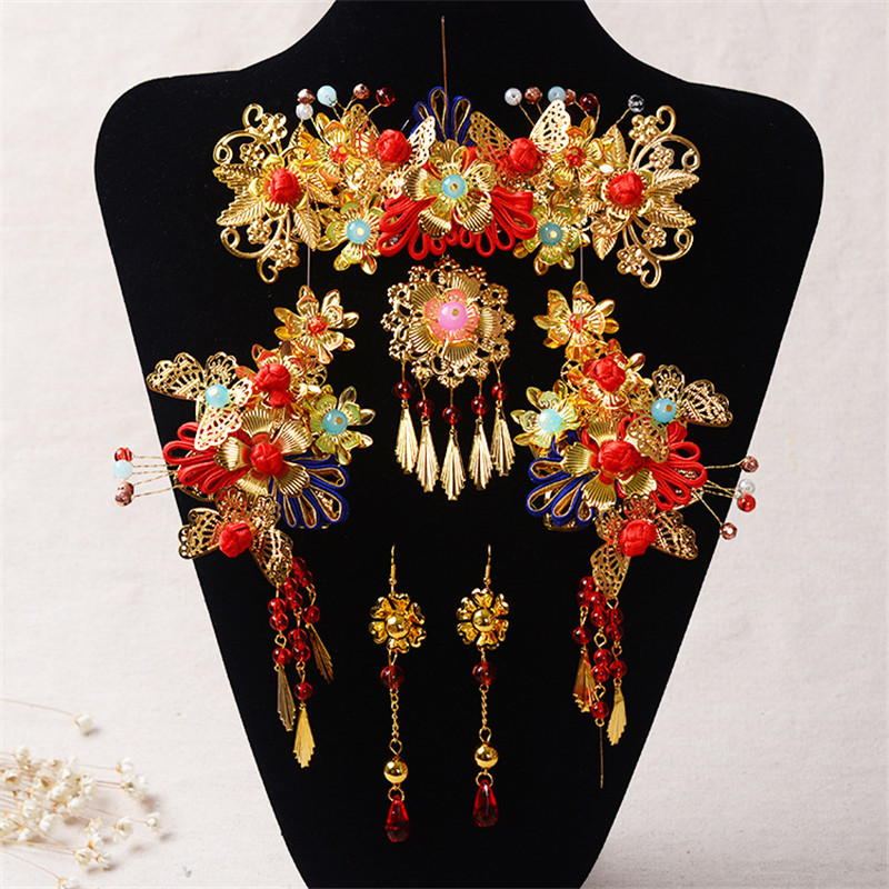 Chinese Style Handmade Red Crystal Bridal Jewelry Sets