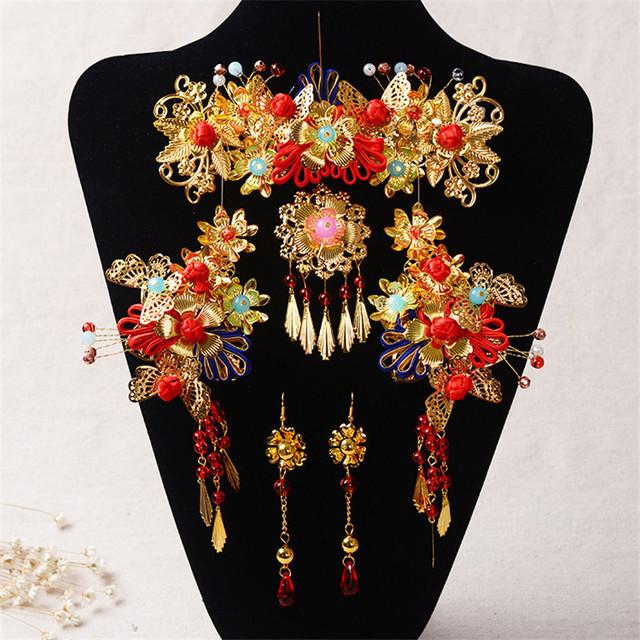 Estilo chino Hecho A Mano de Cristal Rojo Sistemas de La Joyería Nupcial Accesorios Del Pelo Del Tocado de Perlas de Imitación de Oro Plateado Pendientes de la Boda