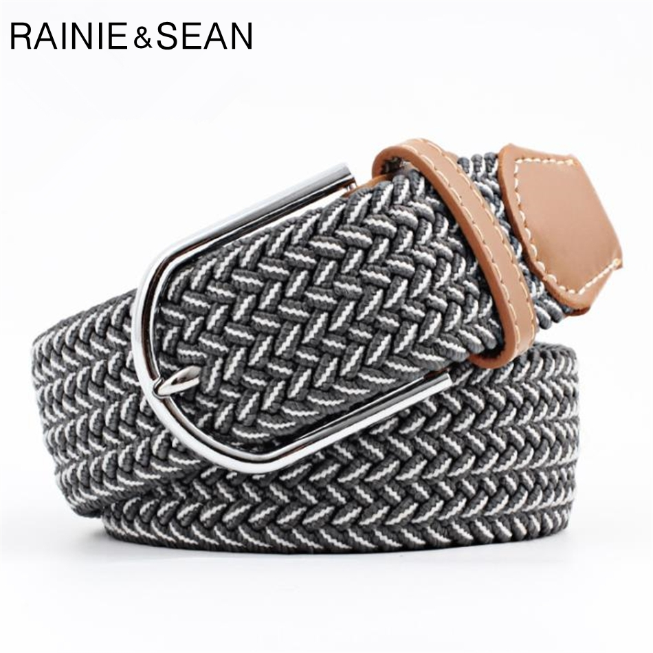 RAINIE SEAN Braided Belt For Women Men Knitted Male Female Belts Unisex Casual Pin Buckle Belt For Trousers
