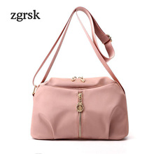 Female Handbags Designer Satchel Solid Zipper Nylon Shopper Bag Crossbody Bags Pink Vintage Sac Main Femme Bolsas
